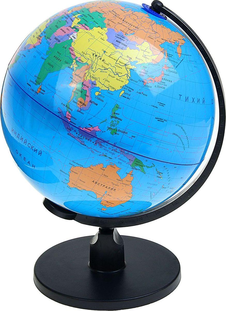 Глобус Политическая карта диаметр 25 см 13539301353930Данная модель дает представление о политическом устройстве мира. Макет показывает расположение государств, столиц и крупных населенных пунктов. Названия всех объектов приведены на русском языке. Страны окрашены в разные цвета, чтобы вам было удобнее ориентироваться. На глобусе отображены: экватор параллели меридианы градусы государственные границы демаркационные линии железнодорожные и морские пути сообщения. Характеристики Высота глобуса с подставкой: 37 см. Диаметр: 25 см. Изделие изготовлено из прочного пластика.