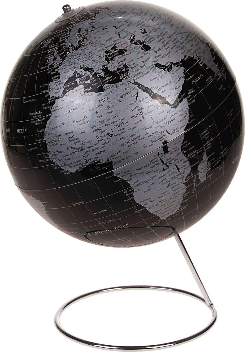 Глобус Политическая карта на английском языке диаметр 25 см186794Данная модель дает представление о политическом устройстве мира. Макет показывает расположение государств, столиц и крупных населенных пунктов. Названия всех объектов приведены на английском языке. Сфера выполнена в черно-серебристом цвете. На глобусе отображены: экватор параллели меридианы градусы государственные границы демаркационные линии. Характеристики Высота глобуса с подставкой: 38 см. Диаметр: 25 см. Масштаб: 1:50 000 000. Шар изготовлен из прочного пластика, подставка металлическая.