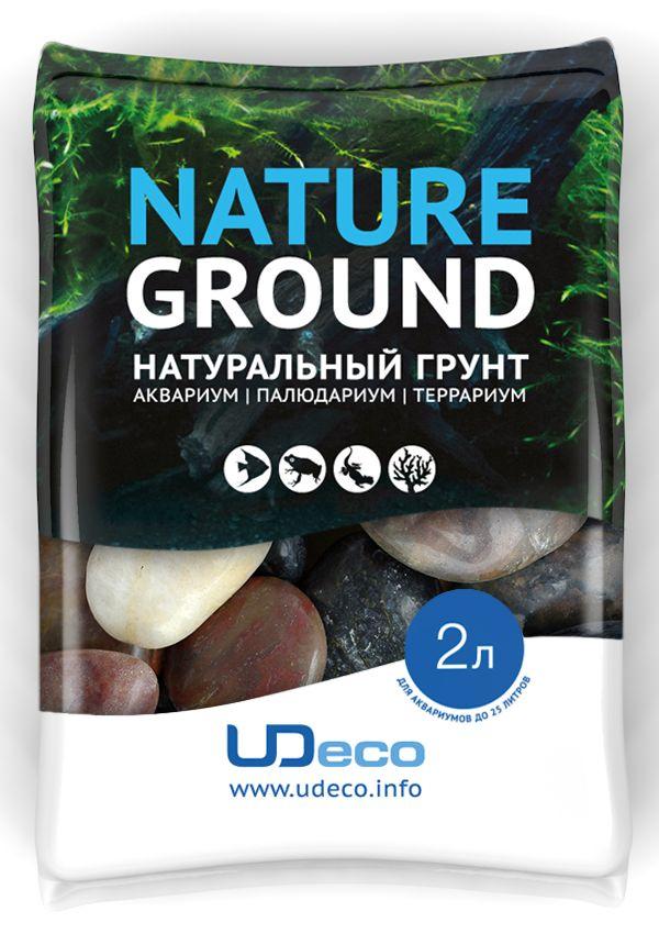 Грунт для аквариума UDeco Разноцветная галька, натуральный, 30-50 мм, 2 л0120710Натуральный грунт UDeco Разноцветная галька предназначен специально для оформления аквариумов, палюдариумов и террариумов. Изделие готово к применению.Грунт UDeco порадует начинающих любителей природы и самых придирчивых дизайнеров, стремящихся к созданию нового, оригинального. Такая декорация придутся по вкусу и обитателям аквариумов и террариумов, которые ещё больше приблизятся к природной среде обитания.Необходимое количество грунта рассчитывается по формуле:длина аквариума х ширина аквариума х толщина слоя грунта. Предназначен для аквариумов от 25 литров. Фракция: 30-50 мм.Объем: 2 л.