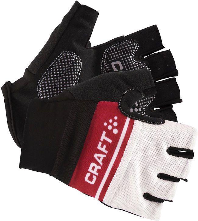 Велоперчатки Craft Classic, цвет: черный, белый, красный. 1903304. Размер L (10)AG-Cycling shoes-26-29Легкие перчатки с гелевыми вставками на точках давления и удобной посадкой