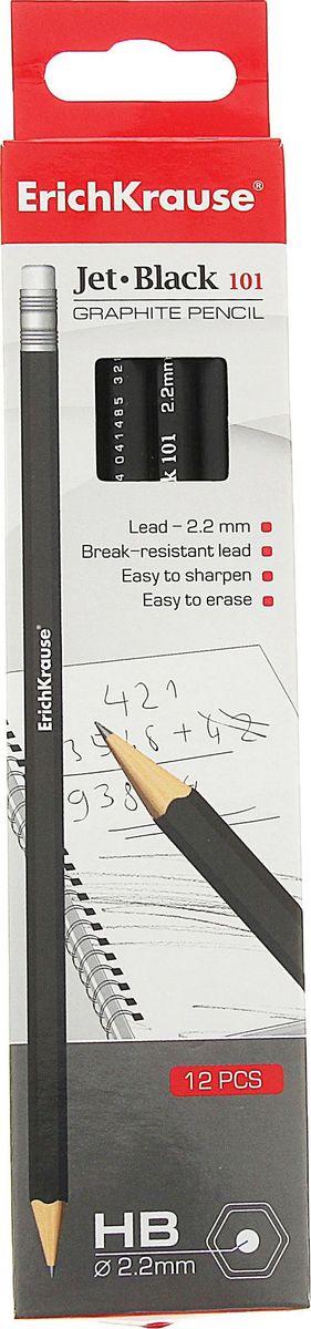 Erich Krause Набор карандашей чернографитных Jet Black с ластиком789603Шестигранный карандаш с ластиком, HB.