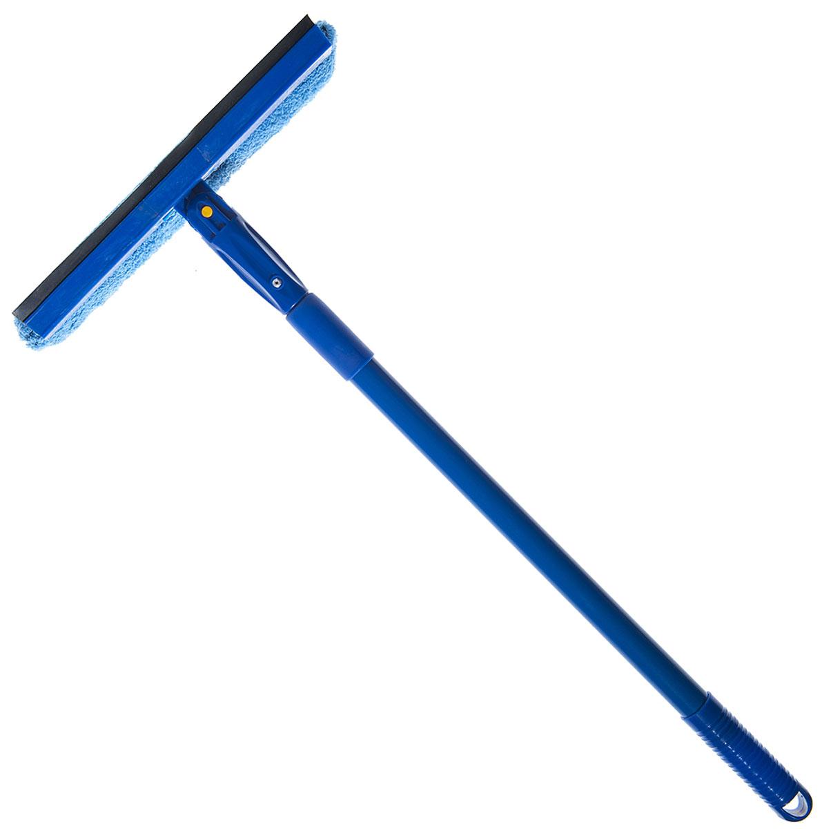 Стеклоочиститель HomeQueen, поворотный, с телескопической ручкой, цвет: синий70066Насадка из микрофибры 25 cм, телескопическая металлическая ручка 40-80 см, поворотная голова.