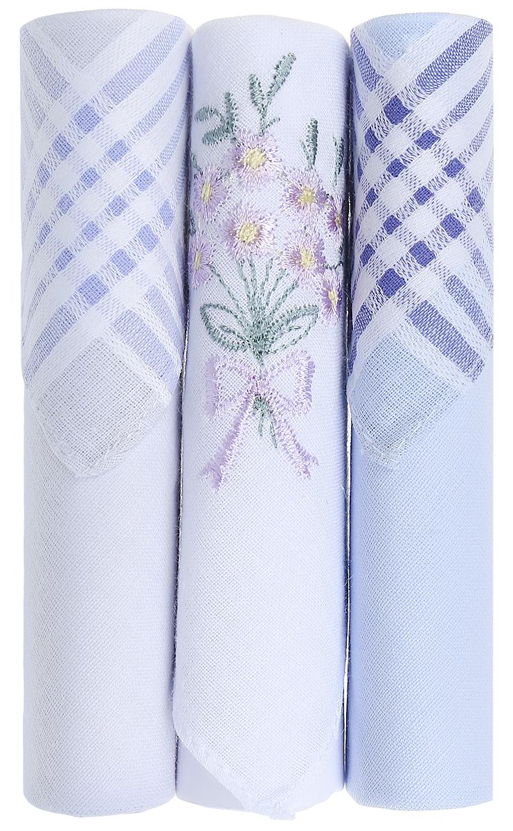 Платок носовой женский Zlata Korunka, цвет: голубой, белый, 3 шт. 40423-119. Размер 28 см х 28 см40423-119Небольшой женский носовой платок Zlata Korunka изготовлен из высококачественного натурального хлопка, благодаря чему приятен в использовании, хорошо стирается, не садится и отлично впитывает влагу. Практичный и изящный носовой платок будет незаменим в повседневной жизни любого современного человека. Такой платок послужит стильным аксессуаром и подчеркнет ваше превосходное чувство вкуса. В комплекте 3 платка.