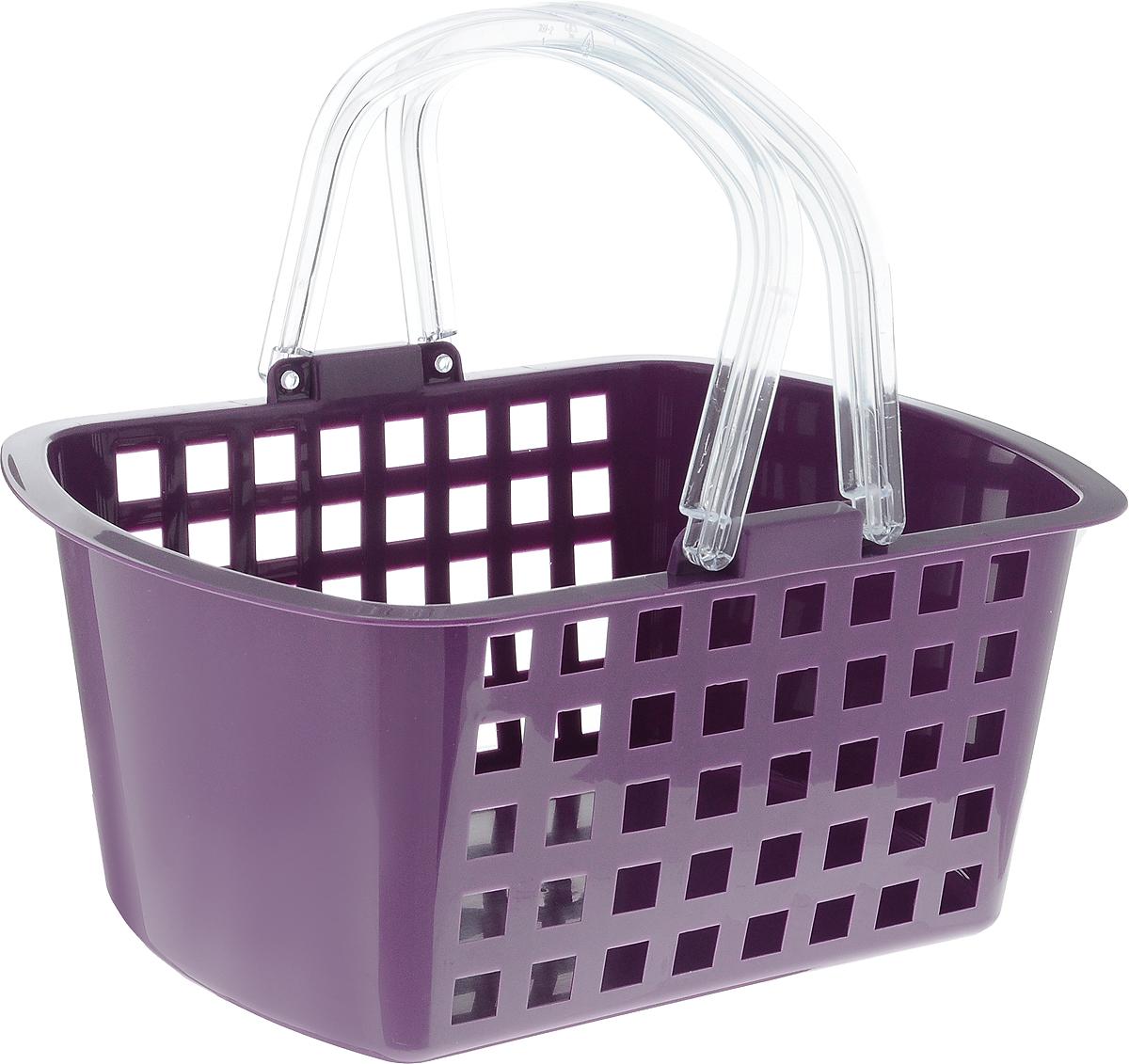 Корзинка универсальная Econova, цвет: фиолетовый, прозрачный, 31 х 24 х 15 смES-412Универсальная корзина Econova, изготовленная из высококачественного прочного пластика, предназначена для хранения мелочей в ванной, на кухне, даче или гараже. Изделие оснащено двумя удобными складными ручками. Дно сплошное, а стенки имеют перфорацию. Это легкая корзина с жесткой кромкой позволит хранить мелкие вещи, исключая возможность их потери.