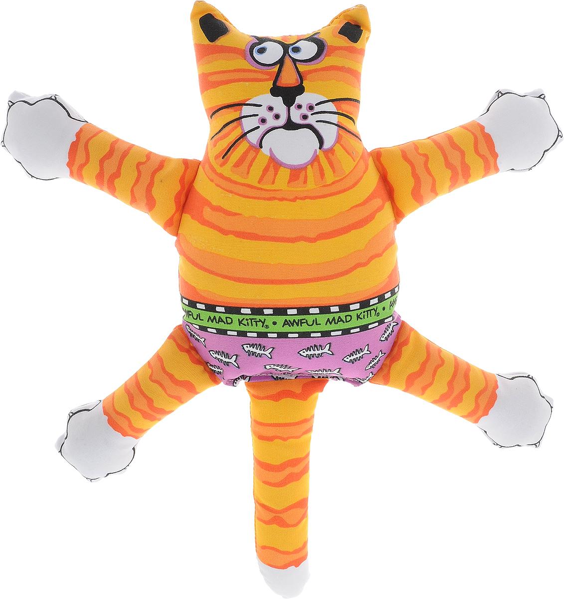 Игрушка для собак Fat Cat Кот-забияка, цвет: оранжевый. 194370120710Игрушка Fat Cat Кот-забияка - это мечта каждой собаки, которая хочет потрепать кота и получить от этого удовольствие. Кот, в свою очередь, это не просто яркая игрушка с нахальной мордой, это забияка, который подразнит вашего любимца и даст сдачи во время игры, при тряске он машет лапами и шлепает ими собаку по голове. Внутри игрушки пищалка, срабатывающая при нажатии.Забавное времяпрепровождение вашему другу просто обеспечено!