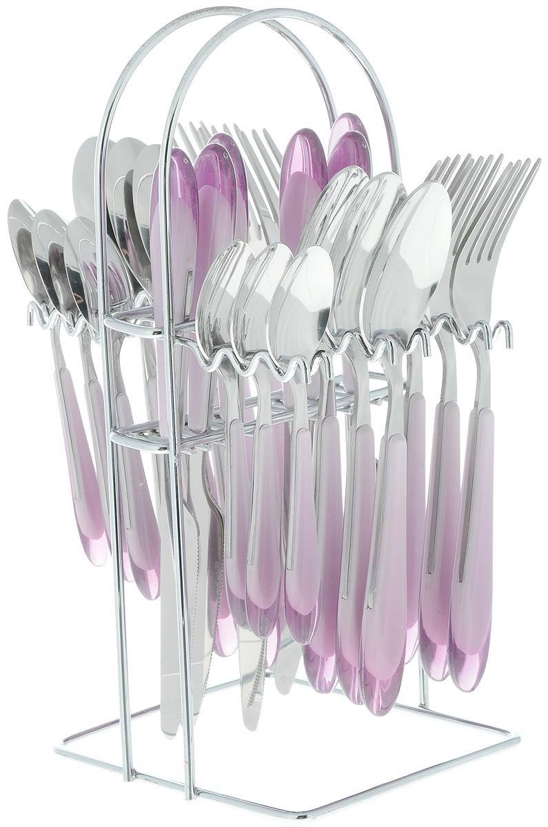 Набор столовых приборов Barton Steel, цвет: серый, сиреневый, 25 предметов8425BSНабор столовых приборов Barton Steel включает 6 столовых ножей, 6 столовых ложек, 6 столовых вилок, 6 чайных ложек и подставку. Приборы выполнены из высококачественной нержавеющей стали и снабжены пластиковыми ручками. Прекрасное сочетание свежего дизайна и удобство использования предметов набора придется по душе каждому. Набор столовых приборов Barton Steel подойдет для сервировки стола как дома, так и на даче и всегда будет важной частью трапезы, а также станет замечательным подарком. Длина ножей: 22,5 см. Длина столовых ложек: 20 см. Длина вилок: 20 см. Длина чайных ложек: 14 см. Размер подставки: 14 х 12,5 х 28 см.