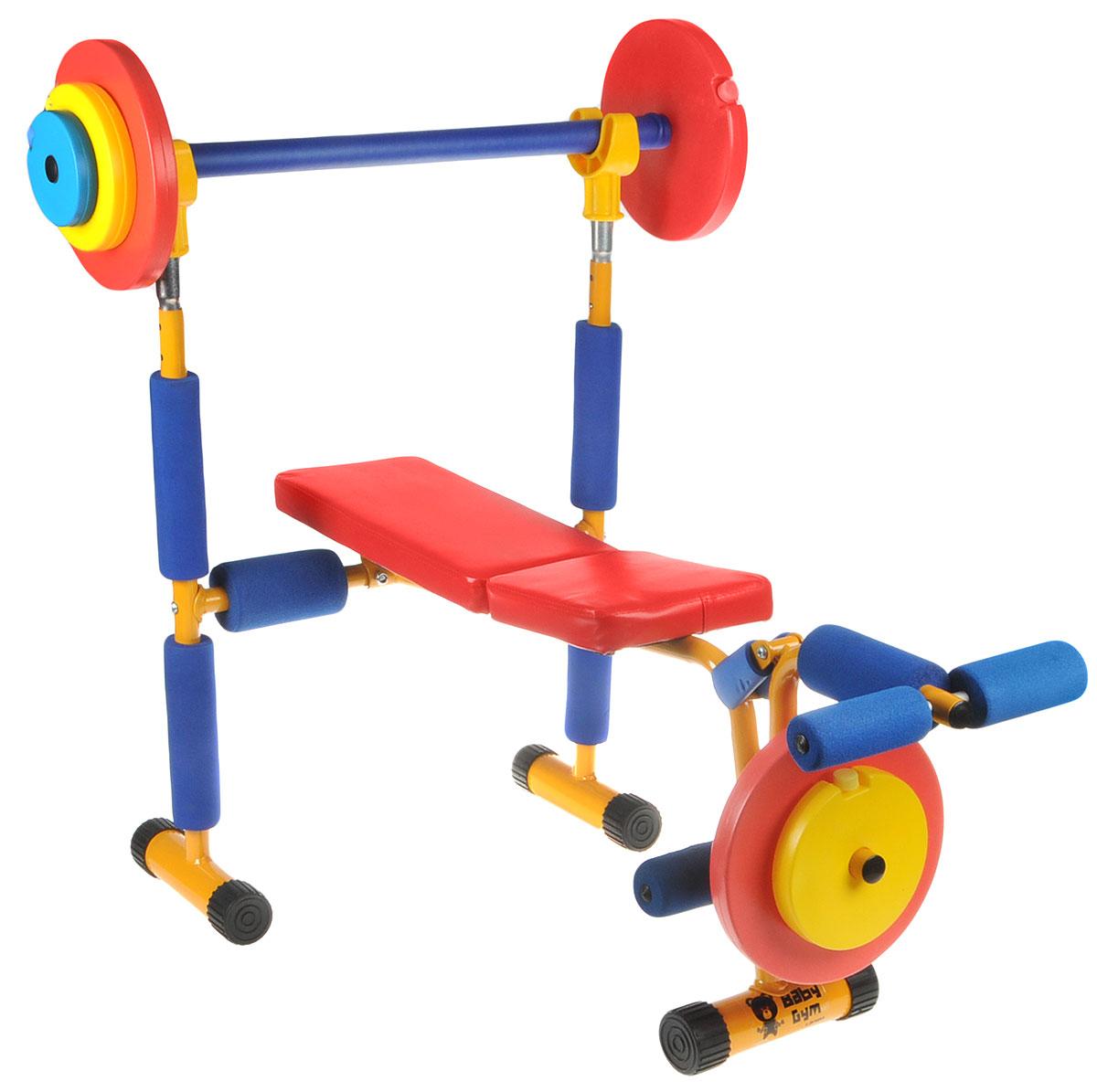 Скамья под штангу Larsen Baby Gym, 87 х 80 х 85 смХот ШейперсСкамья под штангу Larsen Baby Gym предназначена для использования детьми. Выполнена из прочного пластика, вспененного полимера и металла. Лежак обтянут искусственной кожей. В комплект входит штанга и блок для ног.Размеры: 87 х 80 х 85 см. Масса в собранном виде: 8,5 кг. Максимальный вес пользователя: 50 кг