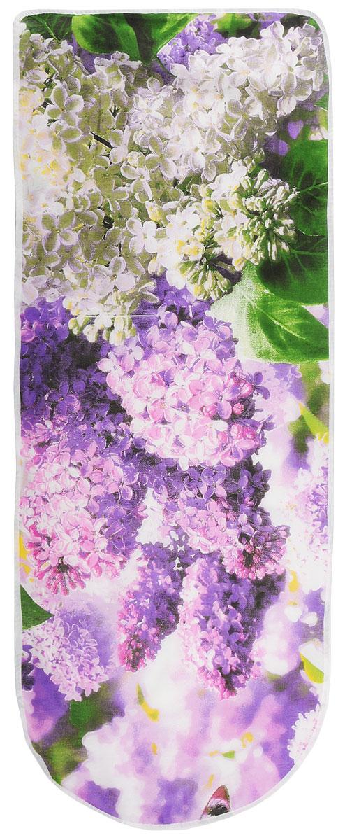 Чехол для гладильной доски Eva Сирень, цвет: фиолетовый, розовый, зеленый, 125 х 47 смЕ13_фиолетовый, розовый, зеленыйХлопчатобумажный чехол Eva Сирень с поролоновым слоем продлит срок службы вашей гладильной доски. Чехол снабжен стягивающим шнуром, при помощи которого вы легко отрегулируете оптимальное натяжение чехла и зафиксируете его на рабочей поверхности гладильной доски. Размер чехла: 125 х 47 см. Максимальный размер доски: 116 х 40 см.