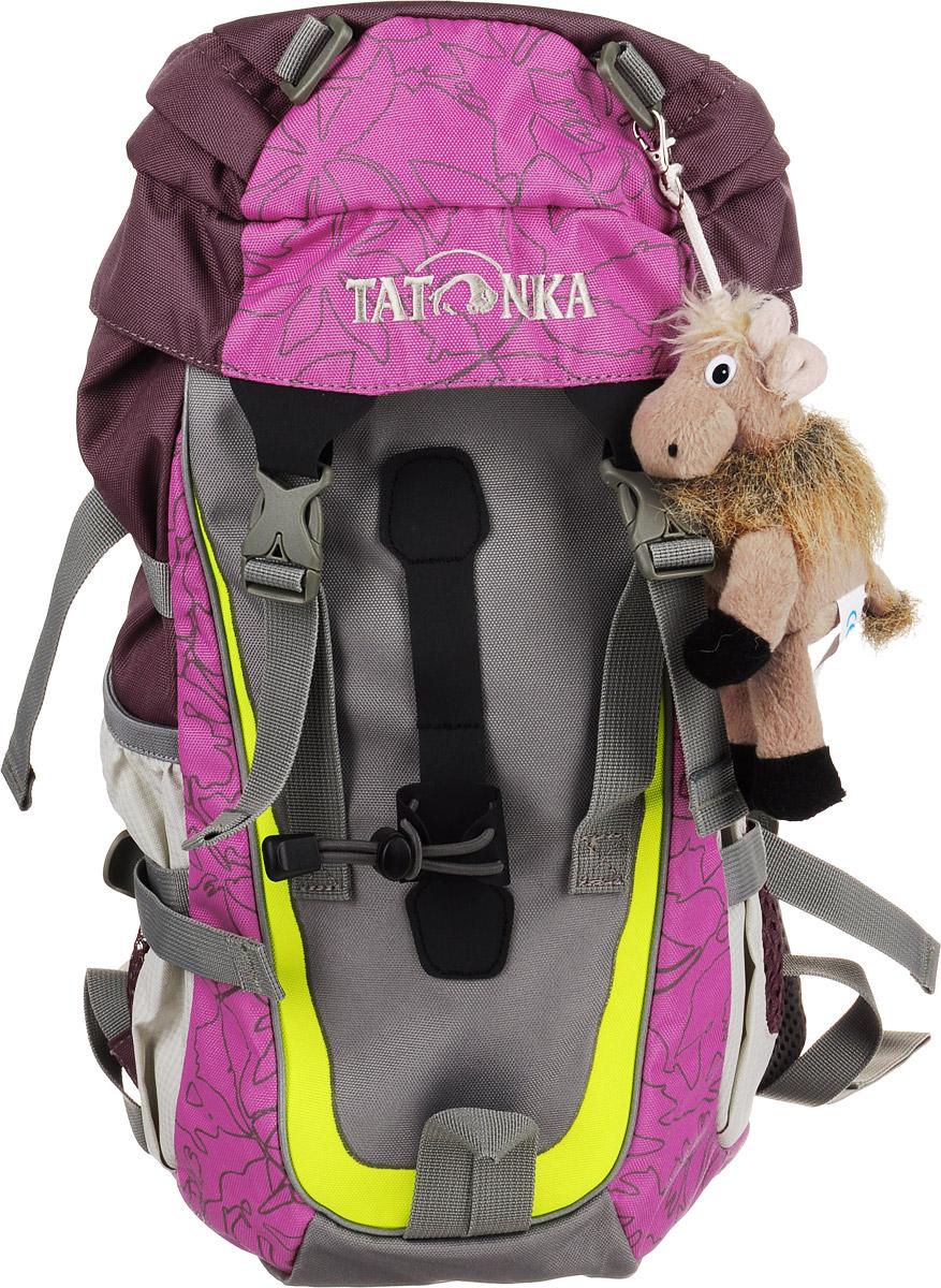 Tatonka Рюкзак детский Mowgli цвет розовыйSMA510-V8-ETНастоящий треккинговый рюкзак Tatonka Mowgli предназначен для детей старше 6 лет.По оснащению этот детский рюкзак ни в чем не уступает взрослым рюкзакам. Рюкзак состоит из одного отделения, которое затягивается шнурком и закрывается на клапан с пластиковыми карабинами. С внутренней и внешней стороны клапана есть врезные кармашки на застежке-молнии. На лицевой стороне рюкзак дополнен подвеской-игрушкой с логотипом Tatonka. По бокам имеются два открытых кармана, которые можно затянуть удобными ремешками. Так же по бокам по бокам рюкзак дополнен стяжками. Имеются нагрудный и поясной ремни, петля для закрепления палок. Уплотненная спинка равномерно распределяет нагрузку на плечевые суставы и спину, а две широкие лямки можно регулировать по длине.Такой рюкзак непременно понравится вашему ребенку.
