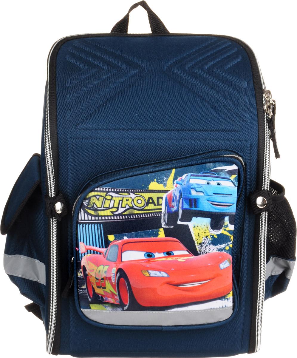 Cars Рюкзак детский72523WDДетский рюкзак Cars выполнен из износоустойчивых материалов и декорирован ярким рисунком в виде персонажа из известного мультфильма Тачки.Он может полностью раскладываться.Изделие содержит одно вместительное отделение, закрывающееся на застежку-молнию с двумя бегунками. Внутри отделения находятся две мягкие перегородки на резинке и открытый карман-сетка. На лицевой стороне расположен накладной карман на молнии. По бокам находятся два кармана: один закрывается клапаном на липучке, второй - открытый. Жесткий каркас и форма спинки способствуют равномерному распределению нагрузки и формированию правильной осанки. Мягкие анатомические лямки позволяют легко и быстро отрегулировать ранец в соответствии с ростом. У ранца имеется текстильная ручка для переноски в руке. Прочное дно обеспечивает ранцу хорошую устойчивость. Светоотражающие элементы не оставят незамеченным вашего ребенка в темное время суток.С модным рюкзаком Cars ваш ребенок будет звездой!