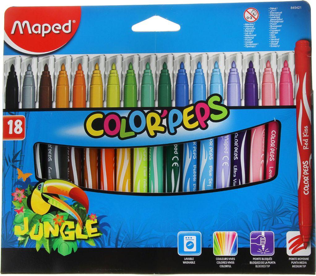 Maped Набор фломастеров Jungle смываемые 18 цветов1040808