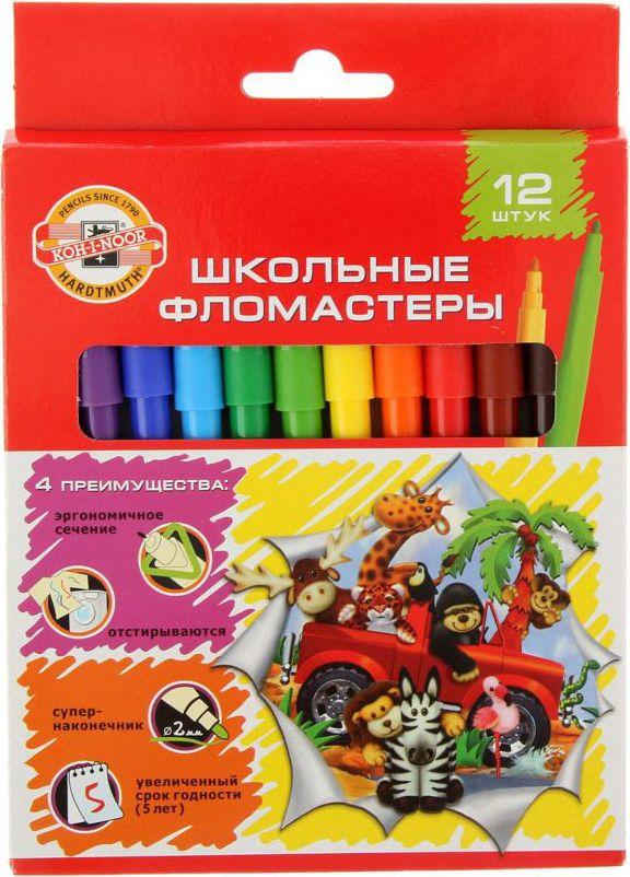 Koh-I-Noor Набор фломастеров Веселые животные 12 цветов1266651