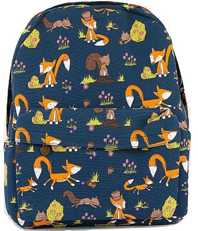 Рюкзак женский Kawaii Factory Лисички, цвет: синий, оранжевый. KW102-000315KW102-000315