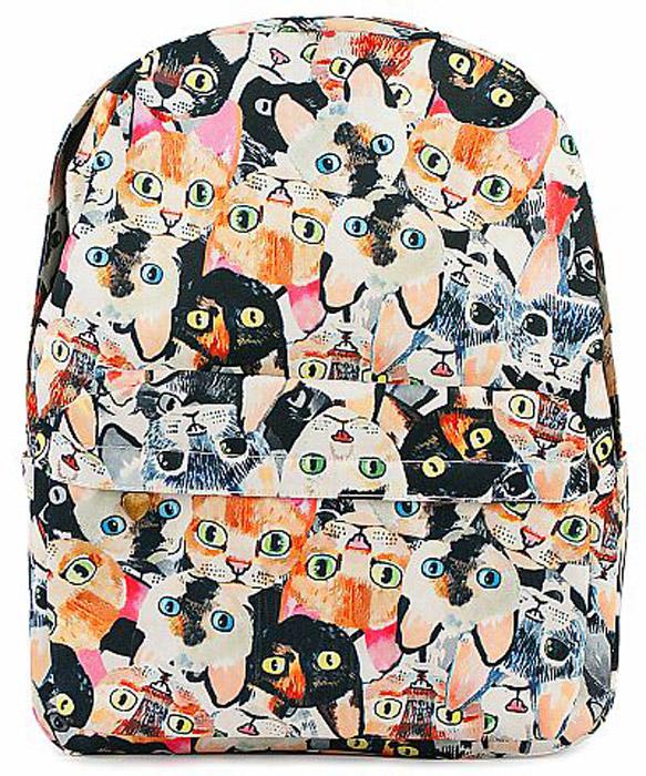 Рюкзак женский Kawaii Factory Разноцветные коты, цвет: бежевый, черный. KW102-000317KW102-0003171 основное отделение, 3 внутренних кармана, 1 внешний карман, 2 боковых кармана