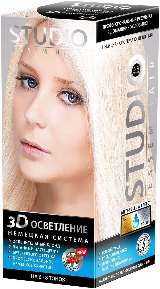 Studio немецкая система осветления 3Д на 6-8 тонов 2 х 25 г/100 мл/25 мл09328Не разрушает структуру волоса Бережно нейтрализует красящий пигмент Специальная маска нейтрализует желтый оттенок на волосах Масло Макадамии в составе смягчает, разглаживает, насыщает витаминами и полезными микроэлементами волосы по всей длине Светоотражающие частицы в составе придают волосам дополнительный играющий блеск. Ослепительный блонд без желтого оттенка!