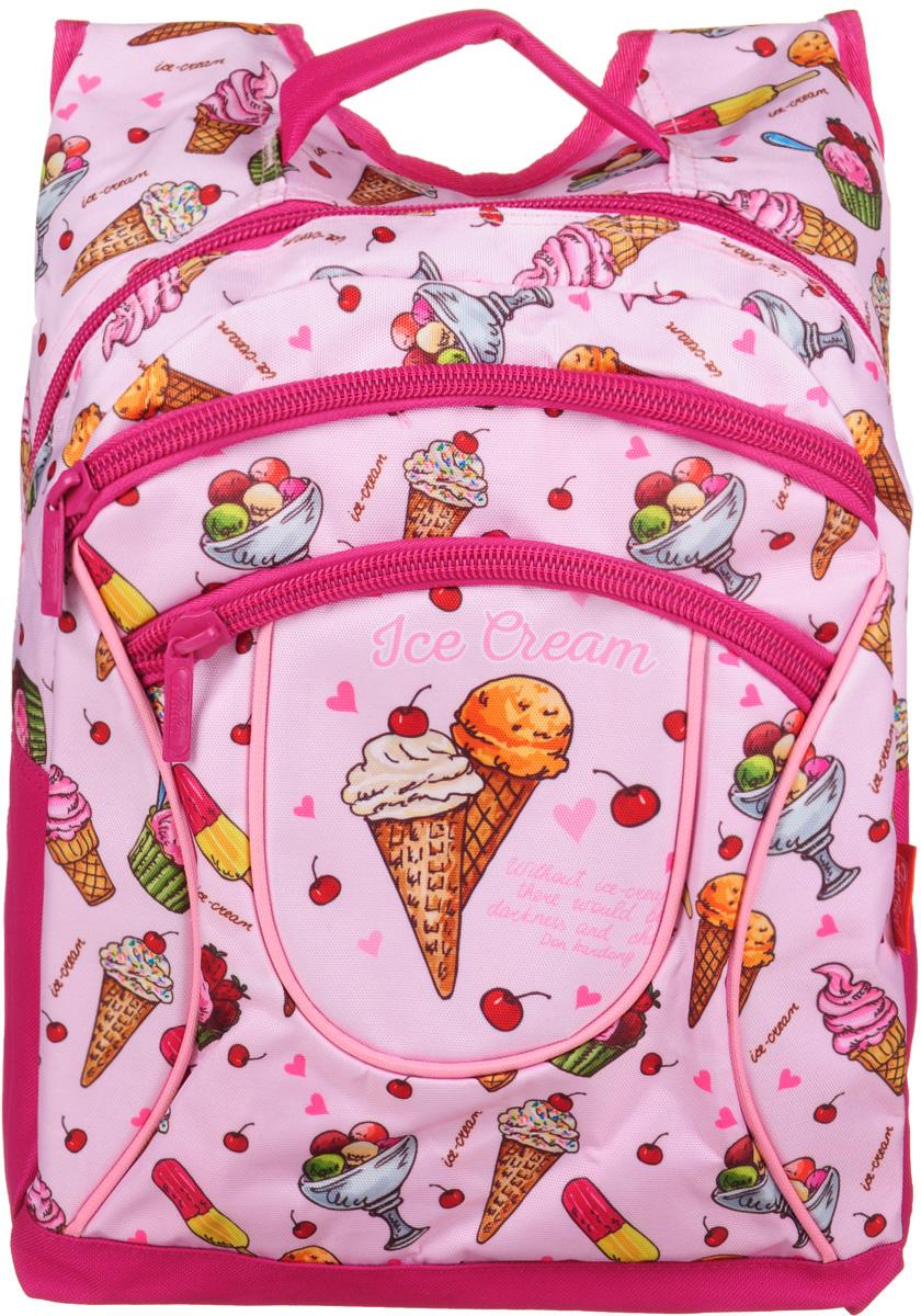 Hatber Рюкзак Basic Plus Ice Cream72523WDРюкзак Hatber Basic Plus Ice Cream - это стильный молодежный рюкзак, отличающийся легкостью и вместительностью. Изделие выполнено из полиэстера и оформлено принтом с изображением мороженого.Рюкзак имеет 2 вместительных отделения, закрывающихся на застежку-молнию. Внутри основного отделения расположен дополнительный карман. На лицевой стороне имеется карман на молнии. Текстильная ручка обеспечивает возможность переноски рюкзака в одной руке. Дно и спинка изделия уплотнены. Широкие мягкие лямки в форме маечки гарантируют максимальный комфорт.