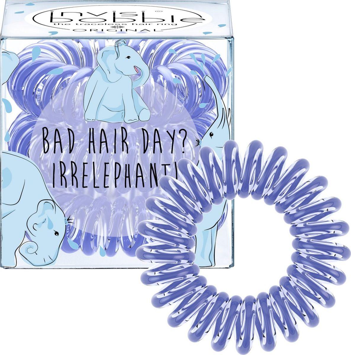 Invisibobble Резинка-браслет для волос ORIGINAL Bad Hair Day? Irrelephant!Серьги с подвескамиРезинки-браслеты invisibobble ORIGINAL Bad Hair Day? Irrelephant! василькового цвета из лимитированной тематической коллекции invisibobble Circus. Эксклюзивная упаковка с изображением Симпатяги-слона подарит яркое фестивальное настроение! Резинки invisibobble подходят для всех типов волос, надежно фиксируют прическу, не оставляют заломы и не вызывают головную боль благодаря неравномерному распределению давления на волосы. Кроме того, они не намокают и не вызывают аллергию при контакте с кожей, поскольку изготовлены из искусственной смолы.