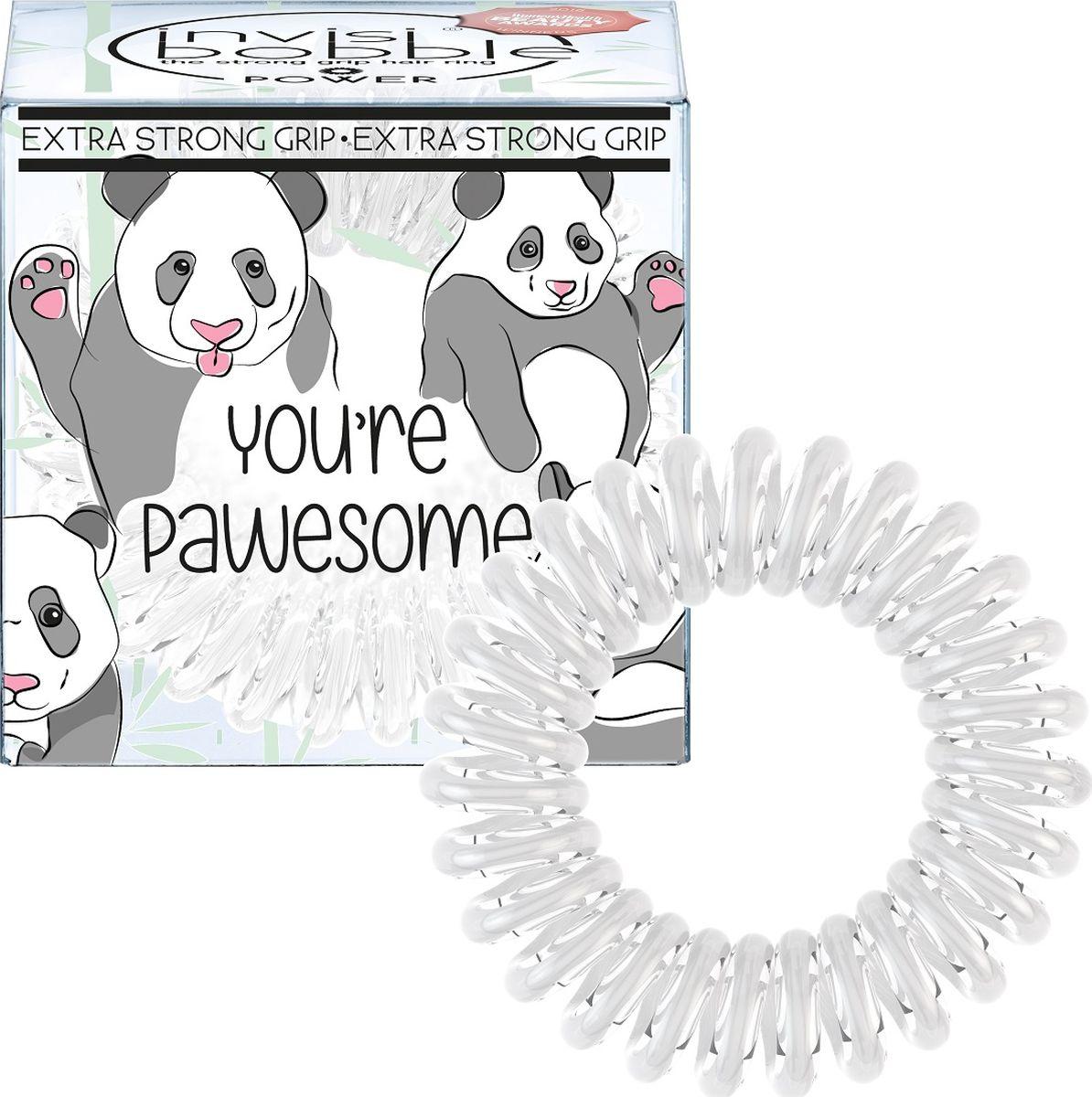 Invisibobble Резинка-браслет для волос ORIGINAL You're Pawesome!MP59.4DРезинки-браслеты invisibobble ORIGINAL You're Pawesome! молочного цвета из лимитированной тематической коллекции invisibobble Circus. Эксклюзивная упаковка с изображением Милашки-панды подарит яркое фестивальное настроение! Резинки invisibobble подходят для всех типов волос, надежно фиксируют прическу, не оставляют заломы и не вызывают головную боль благодаря неравномерному распределению давления на волосы. Кроме того, они не намокают и не вызывают аллергию при контакте с кожей, поскольку изготовлены из искусственной смолы.