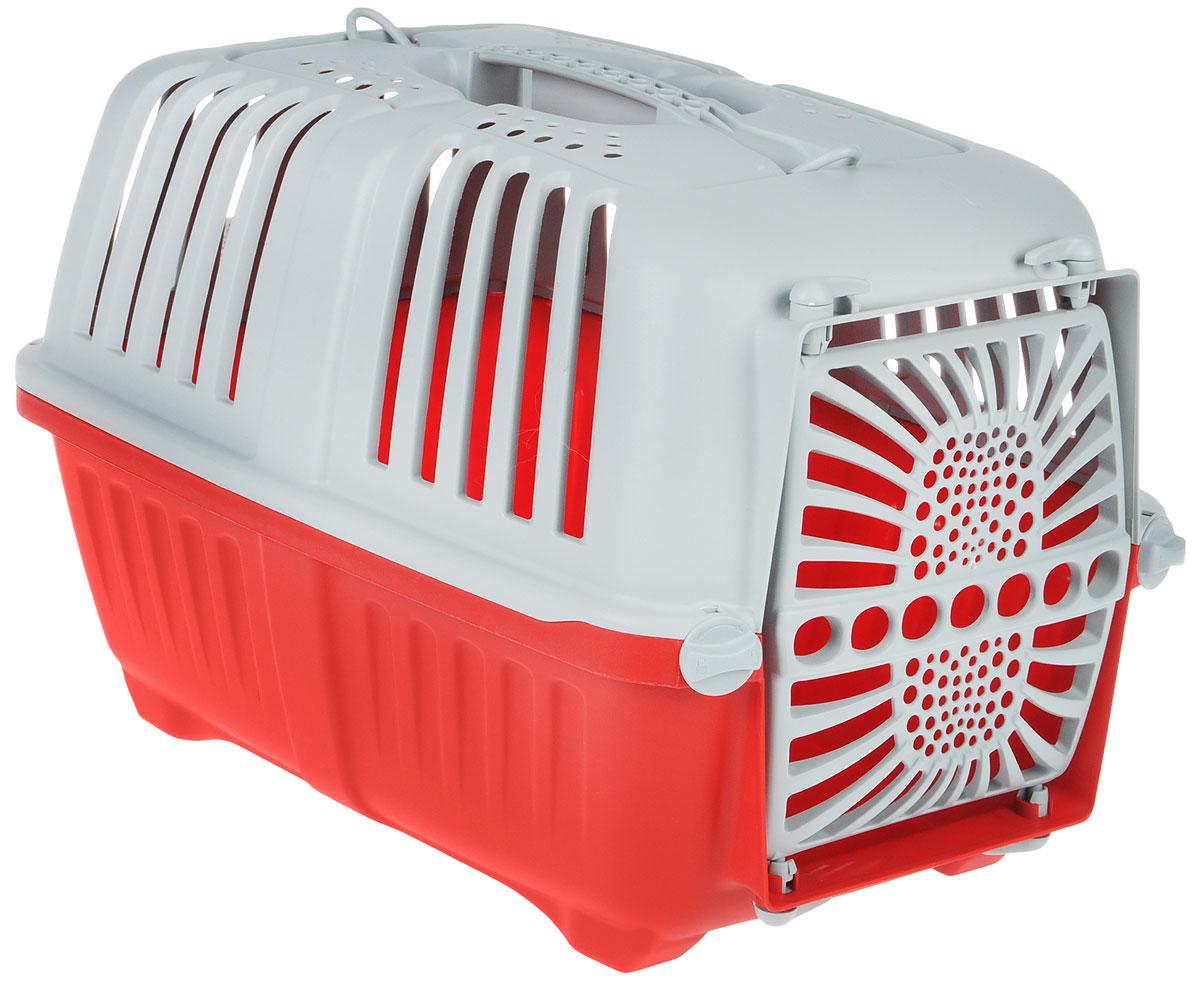 Переноска для животных MPS Pratiko, цвет: красный, серый, 48 см х 31,5 см х 33 смS01130100Переноска MPS Pratiko, выполненная из легкого пластика, прекрасно подойдет для транспортировки кошек и собак мелких пород. Дно переноски снабжено устойчивыми ножками. Крышка с отверстиями для вентиляции оснащена влитой ручкой для большей безопасности при транспортировке и двумя петлями для крепления ремня. Крышка и металлическая дверь крепятся к поддону на поворотные фиксаторы. Переноска легко собирается.