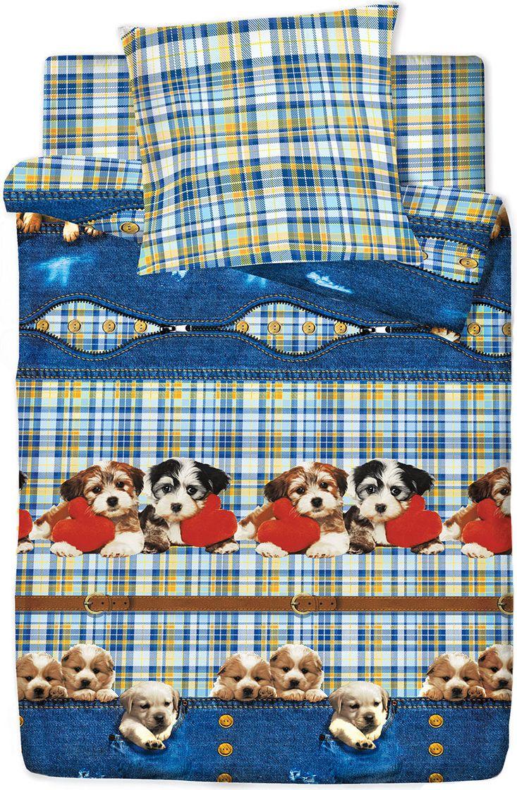 Комплект белья Браво Кидс Щенки, 1,5 спальное, наволочки 70x70, цвет: синий. 3884-279328