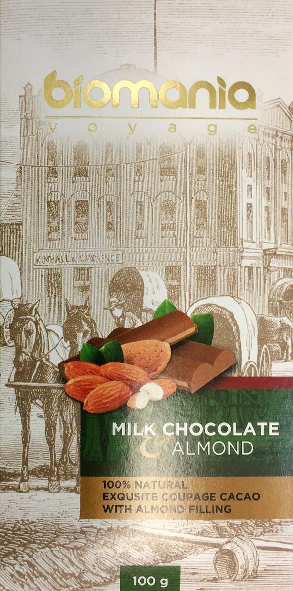 Biomania Voyage молочный шоколад с урбечом из миндаля, 100 г00-00000020Ингредиенты для Шоколада Производитель использует благородные ароматические какао-бобы Тринитарио, Криолло (сегмента Premium - всего 5% от всех бобов в мире) и осуществляем селекцию поставщиков по каждому из ингредиентов. Неповторимый вкус Для получения идеального эксклюзивного вкуса и гармонии ароматов, наши Шоколатье исполняют оригинальное купажирование из различных видов шоколада. Know-how Ручная работа. Максимально содержание орехов или семян (в 2 раза больше по сравнению с конкурентами!) в виде начинки из паст Урбеч от компании «Биопродукты» 100% натуральность и качество Исключительная натуральность всех ингредиентов и высокие стандарты качества производственного процесса.
