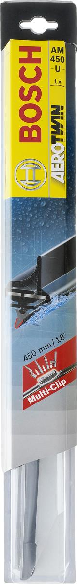 Щетка стеклоочистителя Bosch AM450U, бескаркасная, со спойлером, длина 45 см3397008579Бескаркасная универсальная щетка Bosch AM450U, выполненная по современной технологии из высококачественных материалов, предназначена для установки на стекло автомобиля. Отличается высоким качеством исполнения и оптимально подходит для замены оригинальных щеток, установленных на конвейере. Обеспечивает качественную очистку стекла в любую погоду. Изделие оснащено многофункциональным адаптером Multi-Clip, который превосходно подходит для наиболее распространенных типов креплений. Простой и быстрый монтаж. AEROTWIN - серия бескаркасных щеток компании Bosch. Щетки имеют встроенный аэродинамический спойлер, что делает их эффективными на высоких скоростях, и изготавливаются из многокомпонентной резины с применением натурального каучука. Тип крепления: 2, 3, 4, 8.