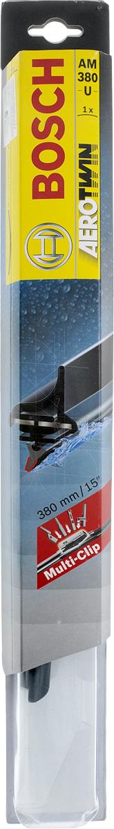 Щетка стеклоочистителя BOSCH Aerotwin AM380U, 380 мм, бескаркасная, 1 шт3397008576Универсальная, Тип крепления - 2,4,8
