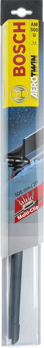 Щетка стеклоочистителя Bosch AM500U, бескаркасная, со спойлером, длина 50 см3397008581Бескаркасная универсальная щетка Bosch AM500U, выполненная по современной технологии из высококачественных материалов, предназначена для установки на стекло автомобиля. Отличается высоким качеством исполнения и оптимально подходит для замены оригинальных щеток, установленных на конвейере. Обеспечивает качественную очистку стекла в любую погоду. Изделие оснащено многофункциональным адаптером Multi-Clip, который превосходно подходит для наиболее распространенных типов креплений. Простой и быстрый монтаж. AEROTWIN - серия бескаркасных щеток компании Bosch. Щетки имеют встроенный аэродинамический спойлер, что делает их эффективными на высоких скоростях, и изготавливаются из многокомпонентной резины с применением натурального каучука. Тип крепления: 2, 3, 4, 8. Крепления: боковой зажим/Pinch Tab, боковой штырь/Side Pin/Pin in Arm/Side Lock/P&H, верхний замок/Top Lock, кнопка/Push Button.