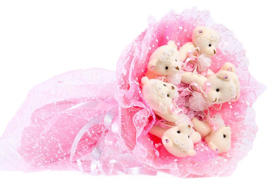 Букет из игрушек Toy Bouquet Медвежата Зефирки, цвет: розовый, 7 игрушекBZ005-7-41Букет из 7 мягких плюшевых мишек, упакован в воздушную флористическую сетку розового цвета, декорирован нежным кружевом по краю букета и перевязан широкой атласной лентой с добавлением серебристой парчовой тесьмы. Букет из игрушек – это идеальный подарок, который подойдет к любому празднику, событию или торжеству.