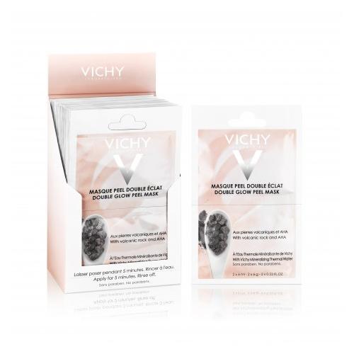 VICHY Очищающая Маска-пилинг саше 2х6млFS-00897Минеральная маска-пилинг Двойное сияние - дополнительный уход для улучшения цвета и текстуры кожи. Фруктовые кислоты бережно эксфолиируют отмершие клетки кожи. Частицы вулканического происхождения мягко отшелушивают. Сочетание химического и физического пилингов позволяет максимально щадяще добиться выравнивания текстуры кожи и улучшения цвета лица. Восстанавливает минеральный баланс кожи.