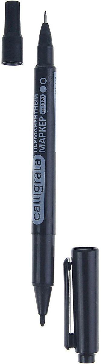 Calligrata Маркер перманентный двусторонний 1120 цвет черный1280346Любая надпись, сделанная перманентным маркером, будет стойкой, долговечной, не сотрется и не выцветет со временем. Дело в том, что такие маркеры содержат в себе чернила на основе спирта, благодаря чему надпись быстро высыхает и остается навсегда. Перманентные маркеры отталкивают влагу, а стереть их можно только растворителем. Маркер перманентный двусторонний 1120 черный 2 мм/0,7 мм — высококлассный представитель таких маркеров. Стекло, дерево, металл, керамика и конечно бумага — надпись на любых поверхностях гарантировано останется яркой и стойкой даже через несколько лет.