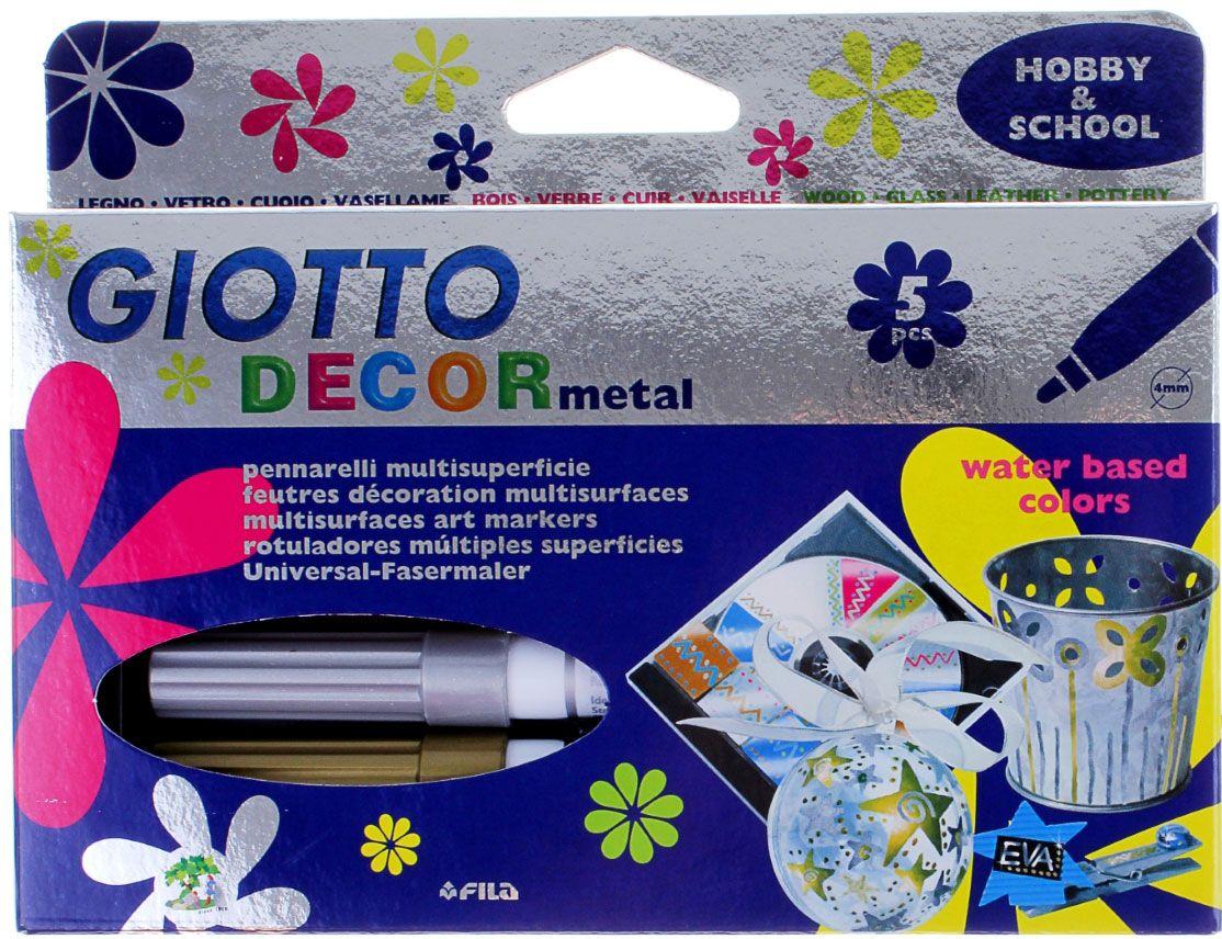 Giotto Набор маркеров для декора Decor Metallic 5 цветов72523WDРисовать фломастерами - для детей огромное удовольствие. Любой рисунок становится живым и насыщенным благодаря качественным фломастерам. Кроме того, они способствуют развитию детской моторики и раскрывают творческий потенциал малыша. Фломастеры 5цв для декора, чернила металлик – отлично зарекомендовали себя среди детей и взрослых. Они идеально подходят для рисования благодаря своей яркой и сочной палитре, легко отстирываются от одежды и кожи, а также имеют прочный пластиковый корпус и пишущий узел. Приобретайте только качественные фломастеры для своих малышей, дарите им удовольствие.