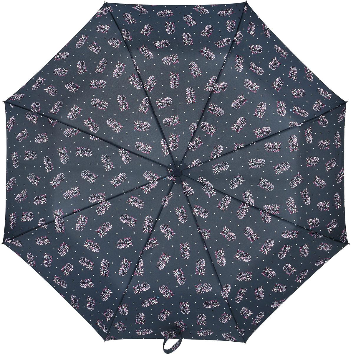 Зонт женский Fulton, механический, 3 сложения, цвет: черный. L354-3378L354-3378 PinappleСтильный механический зонт Fulton имеет 3 сложения, даже в ненастную погоду позволит вам оставаться стильной. Легкий, но в тоже время прочный алюминиевый каркас состоит из восьми спиц с элементами из фибергласса. Купол зонта выполнен из прочного полиэстера с водоотталкивающей пропиткой. Рукоятка закругленной формы, разработанная с учетом требований эргономики, выполнена из каучука. Зонт имеет механический способ сложения: и купол, и стержень открываются и закрываются вручную до характерного щелчка.