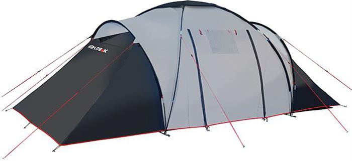 Палатка High Peak Como 6, цвет: светло-серый, темно-серый, 560 х 230 х 200 см. 10236АМNB-503High Peak Como 6 - это большая кемпинговая палатка для отдыха большой компанией или семьей. Конструкция с внешними дугами позволяет создать обширный купол для столовой и кухни. В каждой из двух спален можно разместить троих человек. Особенно это удобно, когда выезжаете с друзьями или детьми. Высота купола в середине палатки около 200 см позволяет взрослому стоять в полный рост. Из тамбура палатки ведут 2 выхода на обе стороны. На пологах, закрывающих входы, находится окна из прозрачной пленки. Материал тента имеет полиуретановое покрытие и водонепроницаемость не менее 3000 мм водяного столба. Это позволяет защититься от ветра и дождя. Все швы проклеены термоусадочной лентой, гарантирующей, что влага не проникнет сквозь них. Дно палатки сделано из прочного водонепроницаемого армированного полиэтилена. Палатка достаточно устойчива, так как имеет множество ветровых оттяжек. Край тента обшит яркой стропой, которая усиливает палатку по краю и выделяет периметр палатки в ночное время. Дуги: фибергласс 9,5 мм.Тент: полиэстер 3000 мм.Дно: Армированный полиэтилен 3000 мм.
