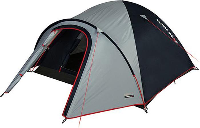 Палатка High Peak Nevada 3, цвет: светло-серый, темно-серый, 290 х 180 х 120 см. 10201800802High Peak Nevada 3 - это классическая двухслойная палатка с обширным тамбуром для снаряжения. Отлично подойдет для походов с апреля по сентябрь, для трекинга и семейных выездов. Палатка легко устанавливается за 4-5 минут. Сначала устанавливается внутренняя палатка из паропроницаемого материала. Если погода жаркая, и дождя не предвидится, то можно спать без внешнего тента. Если надо защититься от ветра и дождя, накиньте внешний тент и проденьте третью дугу в рукав на тенте. Материал тента имеет полиуретановое покрытие и водонепроницаемость не менее 3000 мм водяного столба. Это позволяет защититься от сильного ветра и дождя. Все швы проклеены термоусадочной лентой, гарантирующей, что влага не проникнет сквозь них. При фиксации всех пяти оттяжек палатка имеет высокую ветроустойчивость. Окно для вентиляции находится в верхней точке купола палатки. Во внутренней палатке имеются кармашки для разных мелочей, держатель для фонарика. Внутренняя палатка с системой вентиляцией Vario Vent Control System позволяет постоянно наполнять палатку воздухом и равномерно распределять его по палатке. В комплекте идут сверхпрочные 5мм стальные колышки.Дуги: фибергласс 7,9 мм.Тент: полиэстер 190Т 3000 мм.Дно: армированный полиэтилен (3000 мм).