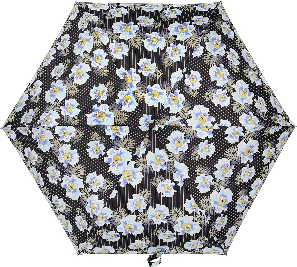 Зонт женский Fulton, механический, 3 сложения, цвет: мультиколор. L553-33753.7-12 navyСтильный механический зонт Fulton имеет 3 сложения, даже в ненастную погоду позволит вам оставаться стильной. Легкий, но в тоже время прочный алюминиевый каркас состоит из шестиспиц с элементами из фибергласса. Купол зонта выполнен из прочного полиэстера с водоотталкивающей пропиткой. Рукоятка закругленной формы, разработанная с учетом требований эргономики, выполнена из каучука. Зонт имеет механический способ сложения: и купол, и стержень открываются и закрываются вручную до характерного щелчка.