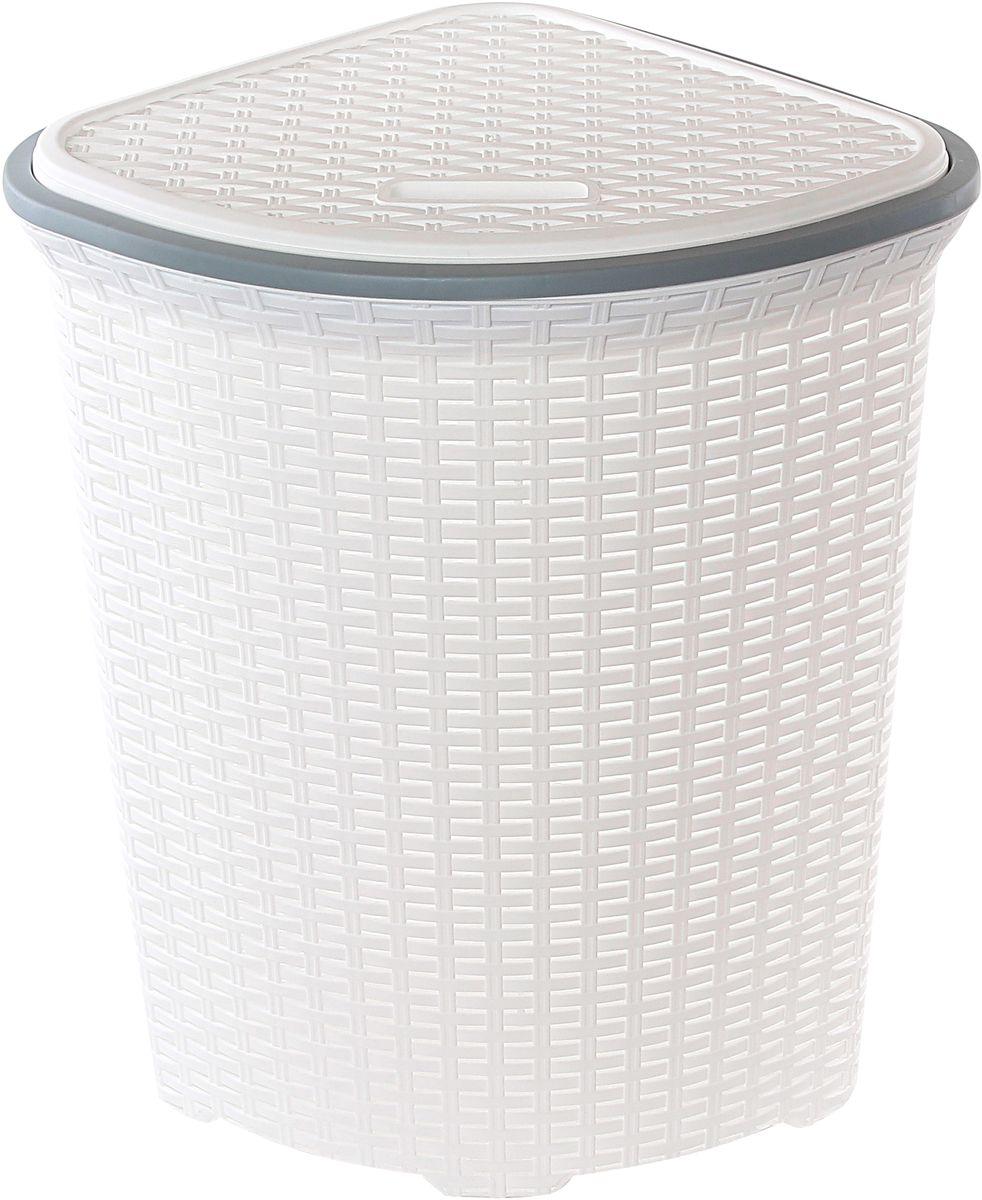 Корзина для белья Violet Ротанг, угловая, цвет: белый, 60 лUP210DFУгловая корзина Violet Ротанг с крышкой, изготовленная из полипропилена, имитирующая плетение ротанг, предназначена для хранения белья. . Организует пространство и впишется в любой интерьер. Это легкая корзина со сплошным дном, жесткой кромкой, с небольшими отверстиями на стенках.