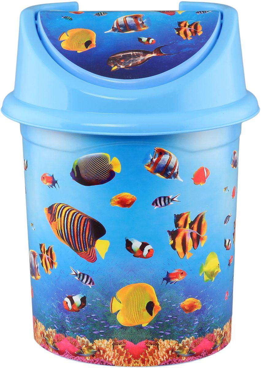 Ведро для мусора Violet Океан, с крышкой, 14 л ведро эмалированное кмк с крышкой с поддоном 10 л