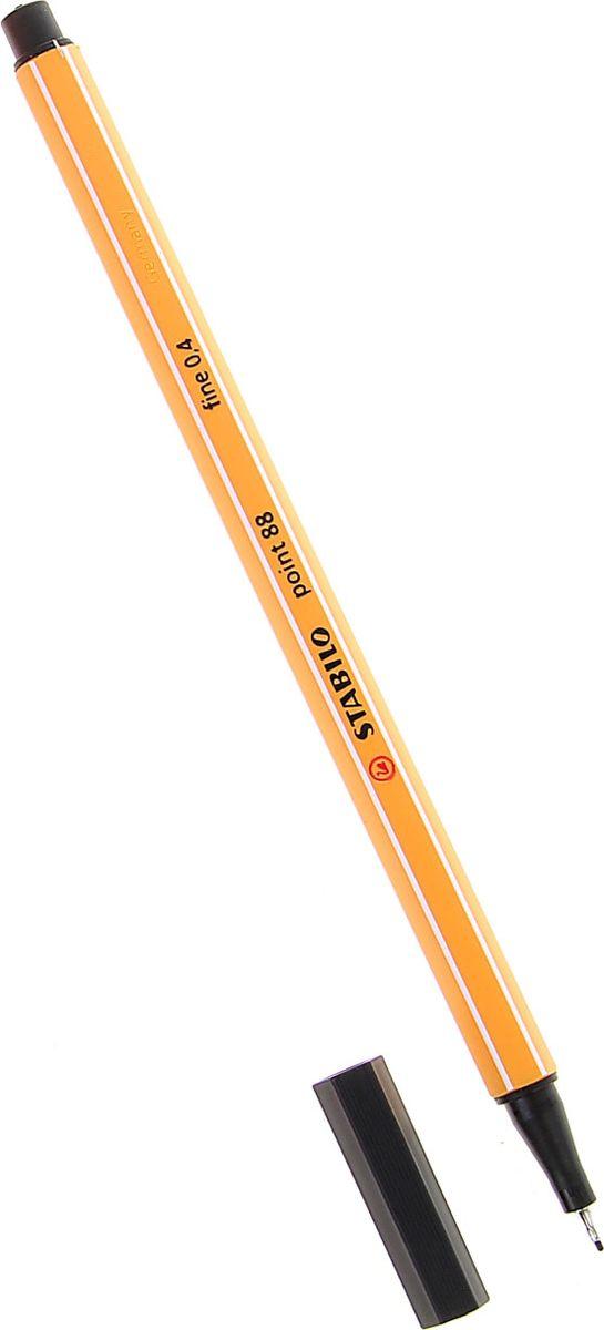 STABILO Ручка капиллярная Point 88 цвет чернил черный72523WDКапиллярная ручка STABILO Point 88 идеально подходит для легкого и мягкого письма, черчения, рисования и раскрашивания.Металлический фиксатор наконечника дает возможность работать с линейками и трафаретами. Высокое качество и большой запас чернил существенно увеличивают срок службы ручки. Чернила на водной основе.Цвет колпачка соответствует цвету пасты. Толщина линии - 0,4 мм.