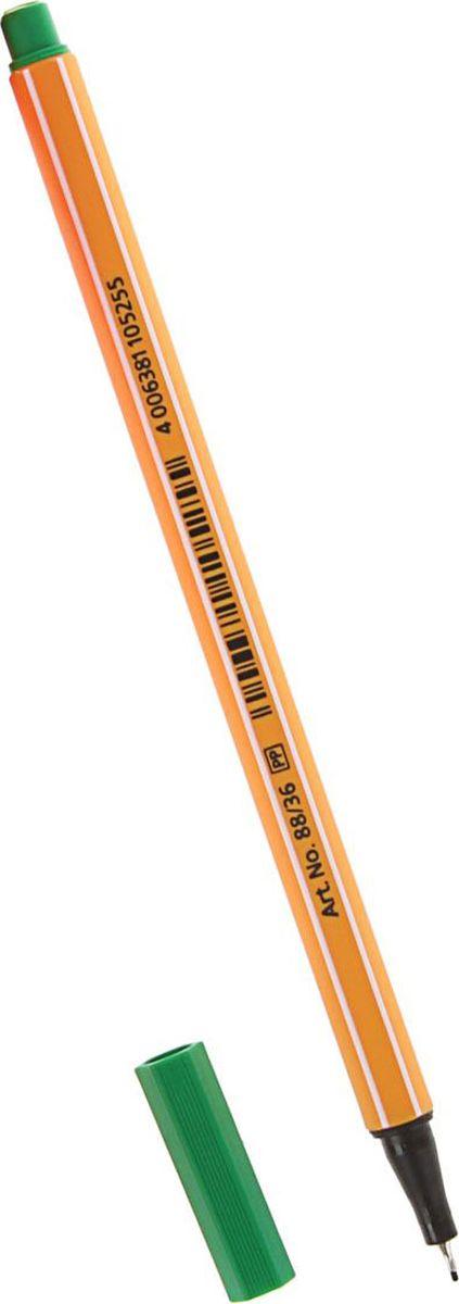 Stabilo Ручка капиллярная Point 88 зеленая1255615Капиллярная ручка STABILO point 88 идеально подходит для легкого и мягкого письма, черчения, рисования и раскрашивания. Металлический фиксатор наконечника дает возможность работать с линейками и трафаретами. Высокое качество и большой запас чернил существенно увеличивают срок службы ручки. Чернила на водной основе. Цвет колпачка соответствует цвету пасты. Толщина линии 0,4 мм.