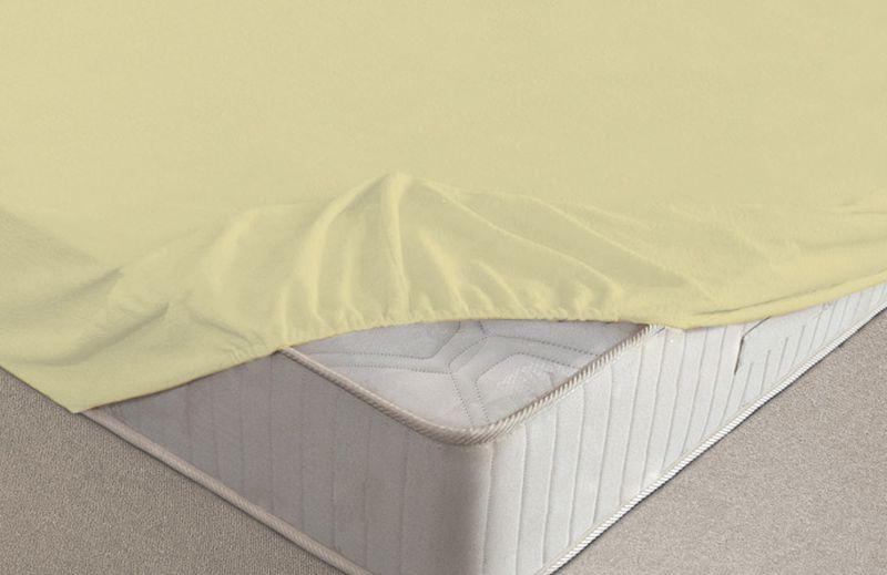 Простыня на резинке Ecotex, махровая, цвет: желтый, 90 х 200 см10503Махровые простыни на резинке сшиты из высококачественного махрового полотна, окрашены стойкими экологически безопасными красителями. Они уже успели завоевать признание потребителей благодаря своим практичным характеристикам. Имеют резинку по всему периметру, что даёт возможность надежно зафиксировать простыню на матрасе, тем самым создавая здоровый и комфортный сон. Натяжные махровые простыни довольно практичны, т.к. махровое полотно долговечно. Выолнены из 100% хлопка и не содержат синтетических добавок.