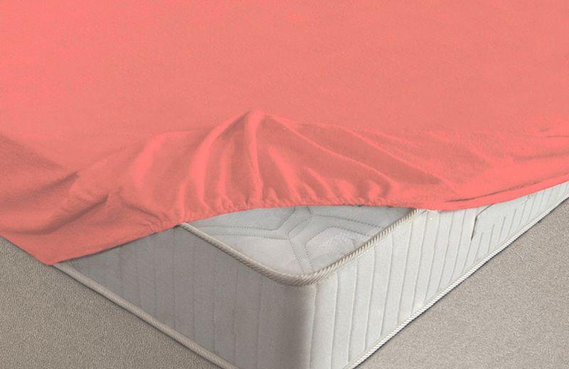 Простыня на резинке Ecotex, махровая, цвет: коралловый, 160 х 200 см10503Махровые простыни на резинке сшиты из высококачественного махрового полотна, окрашены стойкими экологически безопасными красителями. Они уже успели завоевать признание потребителей благодаря своим практичным характеристикам. Имеют резинку по всему периметру, что даёт возможность надежно зафиксировать простыню на матрасе, тем самым создавая здоровый и комфортный сон. Натяжные махровые простыни довольно практичны, т.к. махровое полотно долговечно. Выолнены из 100% хлопка и не содержат синтетических добавок.
