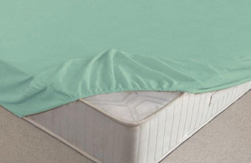 Простыня на резинке Ecotex, махровая, цвет: ментоловый, 160 х 200 смNIP-180/4Махровые простыни на резинке сшиты из высококачественного махрового полотна, окрашены стойкими экологически безопасными красителями. Они уже успели завоевать признание потребителей благодаря своим практичным характеристикам. Имеют резинку по всему периметру, что даёт возможность надежно зафиксировать простыню на матрасе, тем самым создавая здоровый и комфортный сон. Натяжные махровые простыни довольно практичны, т.к. махровое полотно долговечно. Выолнены из 100% хлопка и не содержат синтетических добавок.