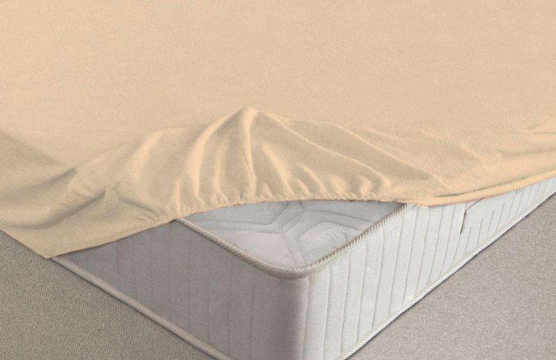 Простыня на резинке Ecotex, махровая, цвет: бежевый, 200 х 200 смES-412Махровые простыни на резинке сшиты из высококачественного махрового полотна, окрашены стойкими экологически безопасными красителями. Они уже успели завоевать признание потребителей благодаря своим практичным характеристикам. Имеют резинку по всему периметру, что даёт возможность надежно зафиксировать простыню на матрасе, тем самым создавая здоровый и комфортный сон. Натяжные махровые простыни довольно практичны, т.к. махровое полотно долговечно. Выолнены из 100% хлопка и не содержат синтетических добавок.