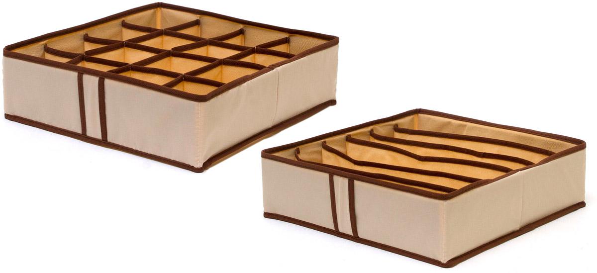 Набор органайзеров Homsu, для нижнего белья, цвет: бежевый, 2 штDEN-20Набор органайзеров предназначен для удобного и компактного хранения белья и мелких вещей. Спокойный бежевый цвет отлично дополняет интерьер, придавая ему оригинальный стиль. В набор входят 2 органайзера: Органайзер бежевый на 6 ячеек - он сохранит форму вашего белья, он компактен, не занимает много места, и в то же время может вместить несколько бюстгальтеров. Органайзер бежевыйй на 16 ячеек для белья и мелких предметов - в него можно сложить носки, трусики и прочие небольшие предметы гардероба, множество ячеек не позволит белью смяться и перепутаться. Выбирая набор органайзеров, вы приобретаете практичное хранение вещей, стильные аксессуары для интерьера и свободное пространство. 350х350х100; 350х350х100