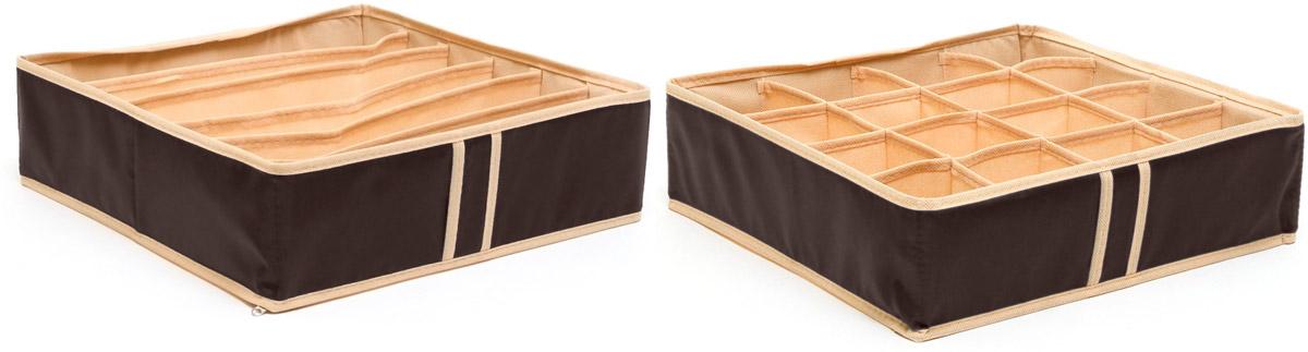 Набор органайзеров Homsu, для нижнего белья, цвет: коричневый, 2 штDEN-24Набор органайзеров предназначен для удобного и компактного хранения белья и мелких вещей. Классический темно-коричневый цвет отлично дополняет интерьер, придавая ему оригинальный стиль. В набор входят 2 органайзера: Органайзер темно-коричневый на 6 ячеек - он сохранит форму вашего белья, он компактен, не занимает много места, и в то же время может вместить несколько бюстгальтеров. Органайзер темно-коричневый на 16 ячеек для белья и мелких предметов - в него можно сложить носки, трусики и прочие небольшие предметы гардероба, множество ячеек не позволит белью смяться и перепутаться. Выбирая набор органайзеров, вы приобретаете практичное хранение вещей, стильные аксессуары для интерьера и свободное пространство. 350х350х100; 350х350х100