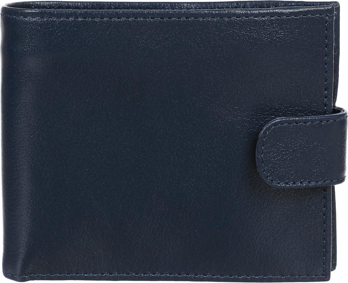 Портмоне муж Befler Грейд, цвет: синий. PM.39.-9BM8434-58AEКомпактное классическое портмоне из коллекции «Грейд» выполнено из натуральной кожи. Закрывается хлястиком на кнопку. Внутренний функционал: 2 основных отделения для купюр, дополнительное отделение для купюр на молнии, 4 кармана для кредитных карт, карман для мелочи, закрывающийся на молнию.