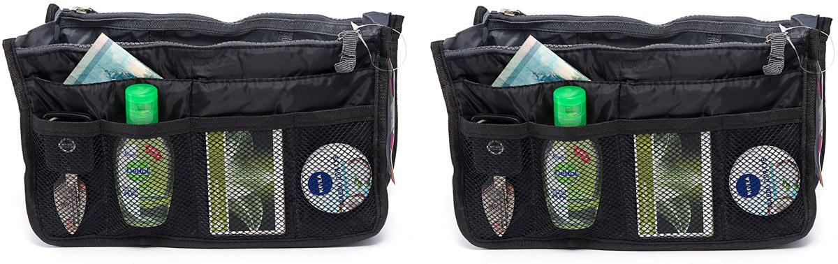 Набор косметичек Homsu, цвет: черный, 28 х 10 х 17 см, 2 штDEN-36Модный и стильный современный дизайн, а также высокая практичная польза – в этих органайзерах очень органично объединены несколько плюсов. Изделия обладают крепкой ручкой, поэтому их легко можно использовать и отдельно от сумки. Если же вставить органайзеры в сумку, вы получите превосходную возможность раз и навсегда навести в ней идеальный порядок, который будет легко поддерживать, распределив все вещи по отдельным кармашкам. 280x100x170; 280x100x170