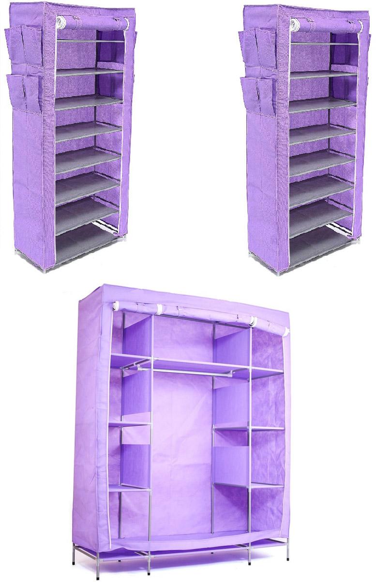 Набор кофров для хранения Территория порядка, цвет: фиолетовый, 3 штDEN-52Уникальный дизайн этого комплекта станет настоящим украшением для любого интерьера. Практичная составляющая подобной мебели также вне сомнений. Лёгкие и прочные устойчивые конструкции из каркасов и тканевой обивки могут быть легко собраны вами без посторонней помощи, буквально за несколько минут. Такая мебель будет всегда удобной и максимально практичной, ведь верхнюю тканевую часть при надобности можно всегда постирать либо же попросту поменять на аналогичную другого цвета. Кроме того, такие конструкции всегда будут отличным решением для того, кому по душе мобильность и постоянная смена обстановки. 1400х500х1750; 600х300х1360; 600х300х1360