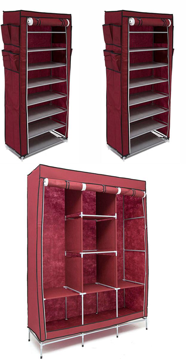 Набор кофров для хранения Идеальное хранение, цвет: бордовый, 3 штDEN-54Уникальный дизайн этого комплекта станет настоящим украшением для любого интерьера. Практичная составляющая подобной мебели также вне сомнений. Лёгкие и прочные устойчивые конструкции из каркасов и тканевой обивки могут быть легко собраны вами без посторонней помощи, буквально за несколько минут. Такая мебель будет всегда удобной и максимально практичной, ведь верхнюю тканевую часть при надобности можно всегда постирать либо же попросту поменять на аналогичную другого цвета. Кроме того, такие конструкции всегда будут отличным решением для того, кому по душе мобильность и постоянная смена обстановки. 1300х450х1720; 600х300х1360; 600х300х1360